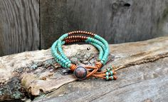 Seed Bead Leather Wrap Bracelet Single Wrap by hodgepodgecandles