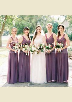 0b362d3d8d0 Long A-line Purple Lace Chiffon V-neck Wedding Party Guest Bridesmaid –  AlineBridal