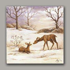 Original Winter Deer Wood Panel Painting animal by TheFittingPiece, $75.00