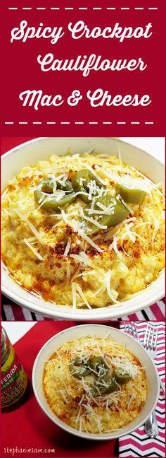 Spicy Crock Pot Cauliflower Mac & Cheese is a gluten free, healthier option for mac & cheese.