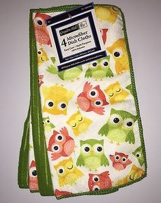 GRAYSON HALL OWL PRINT 4 PACK MICROFIBER KITCHEN DISH CLOTHS  NWT