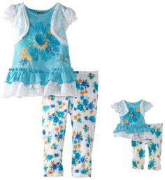 Dollie Me Girls 2-6X Floral Crochet Legging Set With Doll Outfit $38.50 (save $16.50) + Free Shipping