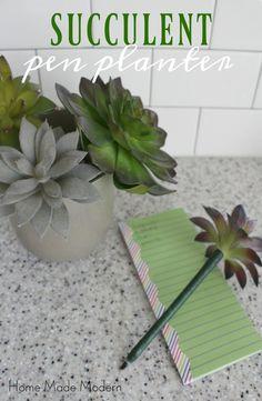 Fausses succulentes collées sur stylos bille imitant un pot de plantes - Succulent pen planter