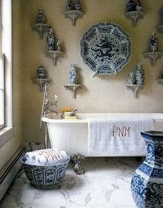 Chinoiserie Chic: El Top Veinte azules y blancas Habitaciones