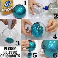 1. Supplies: -Pledge Wood Floor Finish (Blue Cap!) -Clear Ornaments -Glitter -Funnel