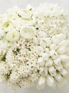 Single white stem bridesmaids: all different flowers
