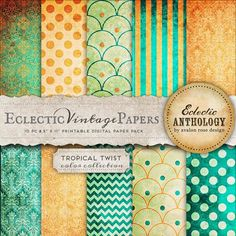Eclectic Vintage Printable Papers - Tropical Twist
