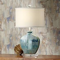 "Lamps+  $129   24.5"" Possini Euro Mia Blue Drip Ceramic Table Lamp"