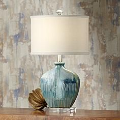 "Lamps+  $129   24.5"" Possini Euro Mia Blue Drip Ceramic Table Lamp"