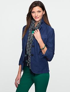 Talbots - Knit Denim Jacket | New Arrivals | Misses Discover your new look at Talbots. Shop our Knit Denim Jacket for stylish clothing and accessories with a modern twist at Talbots