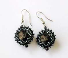 Excited to share the latest addition to my #etsy shop: Beadwoven earrings OOAK Black diamond Rivoli swarovski Crystals Christmas Holiday silver grey pierced earrings #jewelry #earrings #swarovskirivoli #silver #confirmation #gray #blackdiamond #oneofakind #statementearrings