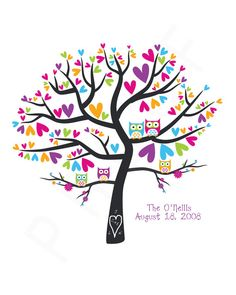 Personalized Family Tree  Owls in a Heart Tree  by penguinpapyrus, $18.00