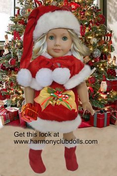 "Get this Santa outfit for 18"" dolls at Harmony Club Dolls <a href=""http://www.harmonyclubdolls.com"" rel=""nofollow"" target=""_blank"">www.harmonyclubdo...</a>"
