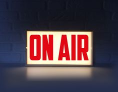 On air lighted sign - On air sign with red letters - Lightbox On air light box - On air lamp by Project121 on Etsy https://www.etsy.com/listing/475045264/on-air-lighted-sign-on-air-sign-with-red