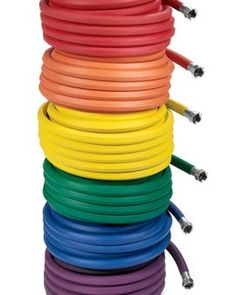 Garden hoses in rainbow colors