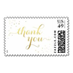 Modern Faux Gold Foil Glamour Thank You Stamp