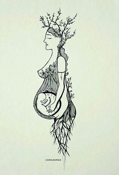 Tattoo tree of life midwife Ideas Tatto Skull, Wicca, Birth Art, Pregnancy Art, Sacred Feminine, Art Plastique, Painting Inspiration, Painting & Drawing, Illustration