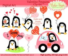 "Valentine Penguins Clipart Clip Art: Penguins in love, Penguin driving car, Holding heart shaped balloons that say ""I love you"", Floating with balloons, Lost balloon, Heart shaped balloons, Red,  Pink clipart, clip art.Personal and Commercial use  High-quality  300 dpi  PNG  Image size approx. 8 1/4 to 10 1/2 inches    Designs may be used in products that you sell."