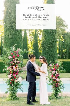 Think bright colors and traditional elegance don't mix? Think again because today's destination wedding in the South of France proves a fun color palette still allows for a sophisticated feel. 🌸 Photographer: @mailysfortunephotography #stylemepretty #southoffrance #francewedding #destinationwedding #colorfulwedding Wedding Colors, Wedding Styles, Receptions, Bright Colors, Wedding Ceremony, Backdrops, Destination Wedding, Palette, Wedding Inspiration