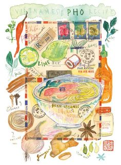 Items similar to Pho recipe illustration poster Vietnamese cooking Kitchen art Asian food watercolor print on Etsy Watercolor Food, Watercolor Illustration, Watercolor Paintings, Kitchen Poster, Kitchen Art, Kitchen Decor, Kitchen Tools, Vietnamese Pho, Vietnamese Recipes
