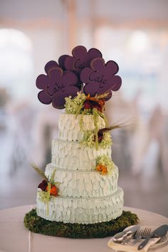 wedding cake with purple flower cake topper #weddingcake #caketopper #weddingdessert http://www.weddingchicks.com/2013/12/20/illinois-fall-wedding/