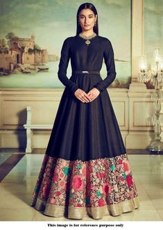 Black georgette indo western gown with floral colourful thread embroidery designer black Indian dress evening wear with embroidered border Sabyasachi Gown, Anarkali Gown, Lehenga Choli, Sari, Black Anarkali, Indian Lehenga, Indian Designer Outfits, Designer Gowns, Style Marocain