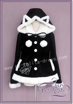 Sweet Cat Embroidery Lolita Winter Coat $95.99- Lolita Jackets - My Lolita Dress