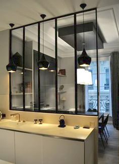 "Read More""Kitchen- glass walls & doors to separate the kitchen from living/ dining room. Design: Windows' wall Wall of windows keeps func Design Room, Small Room Design, Deco Design, House Design, Interior Design, Kitchen Sink Window, Glass Kitchen, Kitchen Small, Kitchen Ideas"