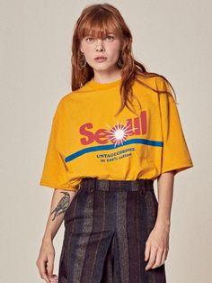 서울 슬로건 오버사이즈 티셔츠[yellow]