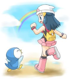 Super cute picture of Dawn and Piplup!