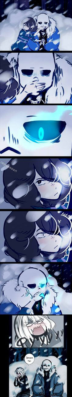 (Sans x Frisk) This is exactly what I do when my mouth gets covered.