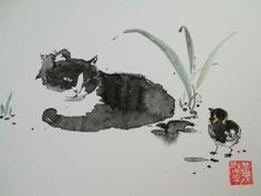 http://www.richardwongwatercolors.ca/resources/Cat%20and%20a%20Chick.jpg.opt472x355o0,0s472x355.jpg