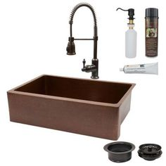 Premier Copper Products All-in-One Undermount Copper 33 in. 0-Hole Single Basin Kitchen Sink in Antique Copper-KSP4_KASB33229 - The Home Depot