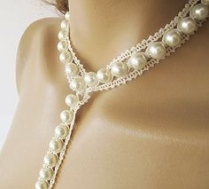 wedding pearl jewelryWeddings statement  necklace bip  by ADbrdal, $37.00