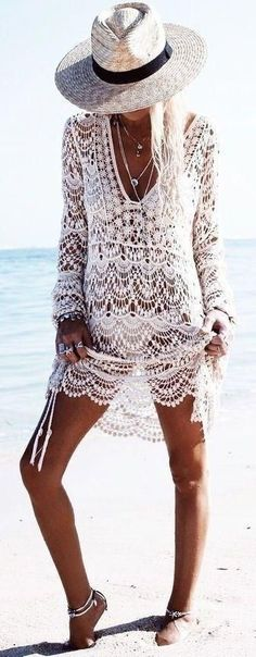 Cover ups Bikini 2018 Sexy Beach Cover up Crochet White Swimwear Dress Ladies Bathing Suit Beach Tunic Saida de Praia Bikini Crochet, Crochet Beach Dress, Crochet Summer, Crochet Tunic, Crochet Lace, Crochet Dresses, Knitted Swimsuit, Unique Crochet, Beautiful Crochet