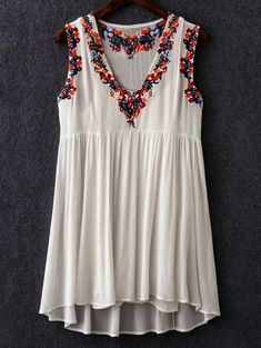 Retro Embroidery Sweet Vintage Style Cami Top and Retro Embroidery V-Neck Dress Cheap Dresses, Casual Dresses, Fashion Dresses, Embroidery Dress, Vintage Embroidery, Japanese Embroidery, Embroidery Stitches, Hand Embroidery, Machine Embroidery