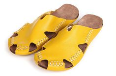 Handmade Beach Shoes for Women, Summer Shoes, Sandal, Leather Slipper, Simple Shoes,Flat Shoes, Oxford Shoes, Yellow/Brown/Red/Black