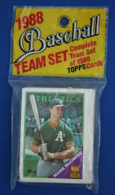 04be6653c18 Vintage 1988 TOPPS Athletics Baseball Team Set Card Pack