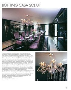 Truly original bespoke chandeliers in Murano glass and amazing interiors of a minimalist villa at Mallorca showcase in DDN Magazine   #deMajo #Aria #Muranoglass #MuranoChandeliers #bespoke #handcrafted #interior #interiors #seafontvillas #luxury #exclusive #homedecorating #elegant #classy #cozy #refined  #exclusivehomes #homedecoratingideas #mallorca #luxuryvillas #villa #sea #purple #glass #designdiffusion #ddn