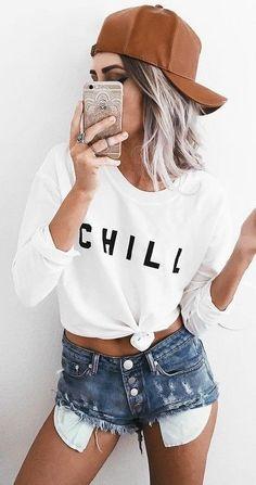 #ending #summer #outfits   Camel Baseball Cap + Graphic Sweatshirt + Cut Offs