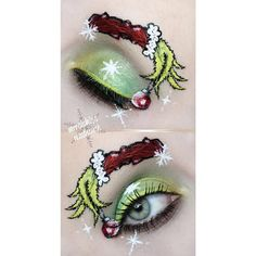 Tools animation Relive How the Grinch Stole Christmas in colorful eyeshadow shades and quill lin. Relive How the Grinch Stole Christmas in colorful eyeshadow shades and quill liners. Discover the holiday makeup must-haves here. Holiday Makeup Looks Christmas, Christmas Nails, Holiday Nails, Christmas Fun, Xmas, Eye Makeup Art, Eye Art, Fun Makeup, Easy Makeup