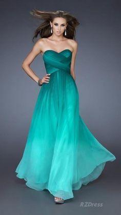 Blouson Maxi Dress | Ombre colour and Teal blue