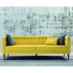 Sofá com 3 Almofadas Neon 1,63m - Estrutura Eucalipto Pés Madeira Maciça - Veludo Animalle Amarelo