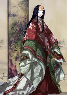 Robe of Moss by Hachiretsu. A woman dressed in junihitoe