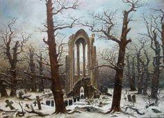 Auftrag 110 x 85 Rekonstruktion, Kriegsverlust aus der Nationalgalerie nach einem Foto ( Caspar David Friedrich, Öl auf Leinwand 1819, Klosterfriedhof im Schnee )