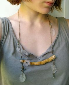 Driftwood Necklace woodland necklace in blue by ArtifactsEtCetera, $55.00