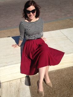 striped top and red skirt // outfits for church // fall outfits for women Casual Fall Outfits, Modest Outfits, Skirt Outfits, Modest Fashion, Dress Skirt, Midi Skirt, Cute Outfits, Fashion Outfits, Waist Skirt