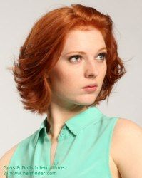 Neck length hairstyle with feathered ends. http://www.hairfinder.com/hairstyles9/easy-hairstyle7.htm