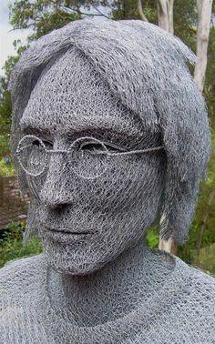 chicken wire sculptures by Ivan Lovatt