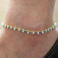 9 Gold GP 4mm turquoise beads gold chain adjustable by sohocraft, $14.99